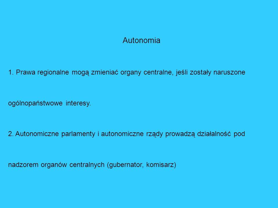 Autonomia 1. Prawa regionalne mogą zmieniać organy centralne, jeśli zostały naruszone ogólnopaństwowe interesy. 2. Autonomiczne parlamenty i autonomic