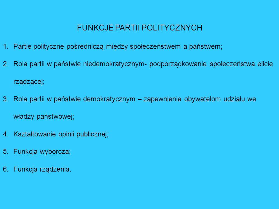 FUNKCJE PARTII POLITYCZNYCH 1.Partie polityczne pośredniczą między społeczeństwem a państwem; 2.Rola partii w państwie niedemokratycznym- podporządkow