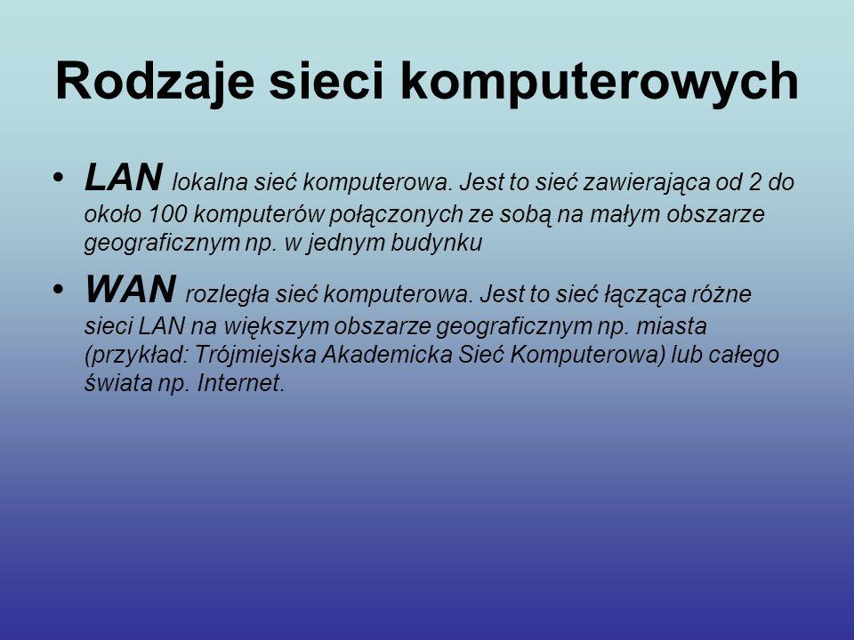 Rodzaje sieci komputerowych LAN lokalna sieć komputerowa. Jest to sieć zawierająca od 2 do około 100 komputerów połączonych ze sobą na małym obszarze