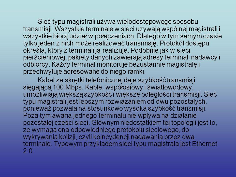 Sieć typu magistrali używa wielodostępowego sposobu transmisji. Wszystkie terminale w sieci używają wspólnej magistrali i wszystkie biorą udział w poł