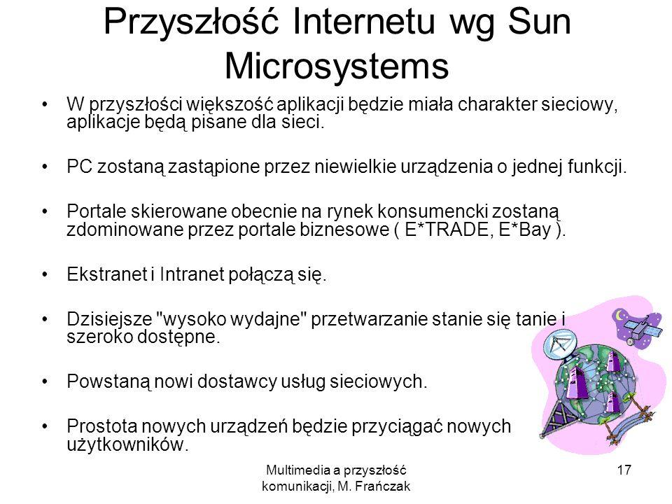 Multimedia a przyszłość komunikacji, M. Frańczak 17 Przyszłość Internetu wg Sun Microsystems W przyszłości większość aplikacji będzie miała charakter