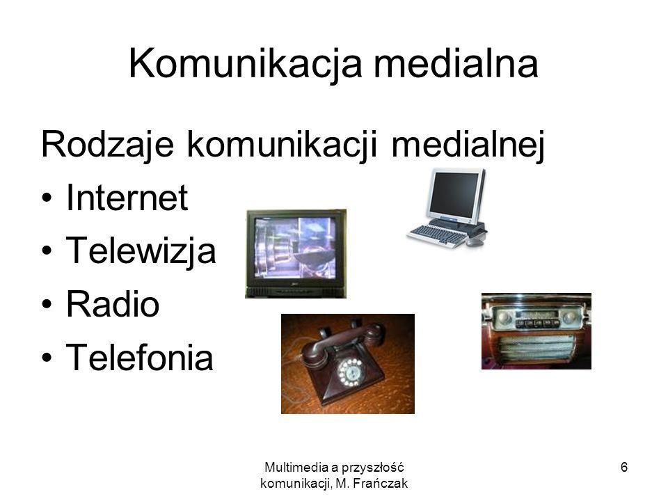 Multimedia a przyszłość komunikacji, M. Frańczak 6 Komunikacja medialna Rodzaje komunikacji medialnej Internet Telewizja Radio Telefonia
