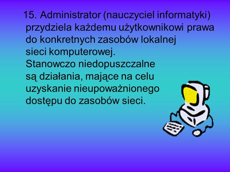 15. Administrator (nauczyciel informatyki) przydziela każdemu użytkownikowi prawa do konkretnych zasobów lokalnej sieci komputerowej. Stanowczo niedop