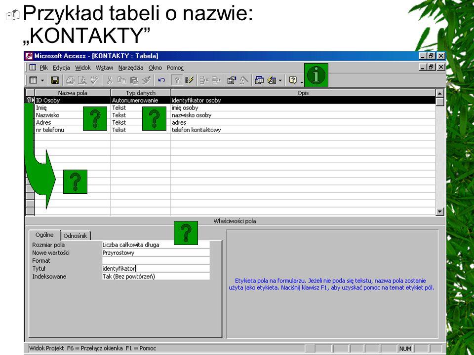 Pasek narzędziowy Arkusz danych tabeli w widoku projekt: WIDOK ZAPISZ KLUCZ PODSTAWOWY WSTAW/USUŃ WIERSZE