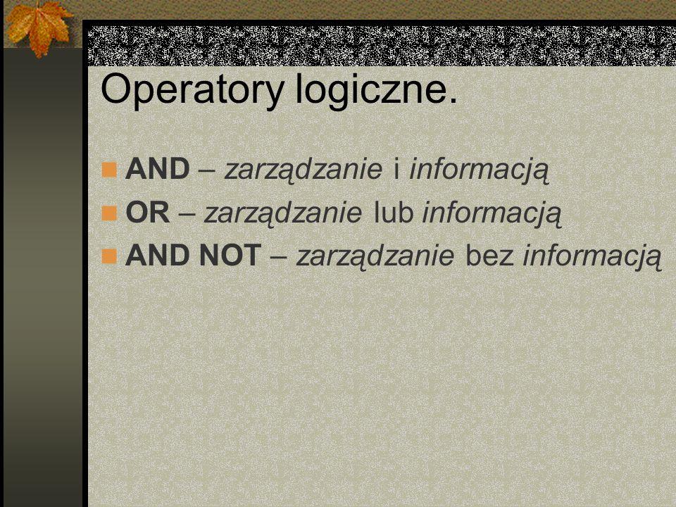 Operatory logiczne. AND – zarządzanie i informacją OR – zarządzanie lub informacją AND NOT – zarządzanie bez informacją