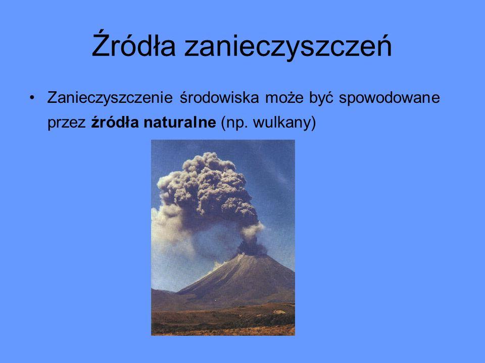 Źródła zanieczyszczeń Zanieczyszczenie środowiska może być spowodowane przez źródła naturalne (np. wulkany)
