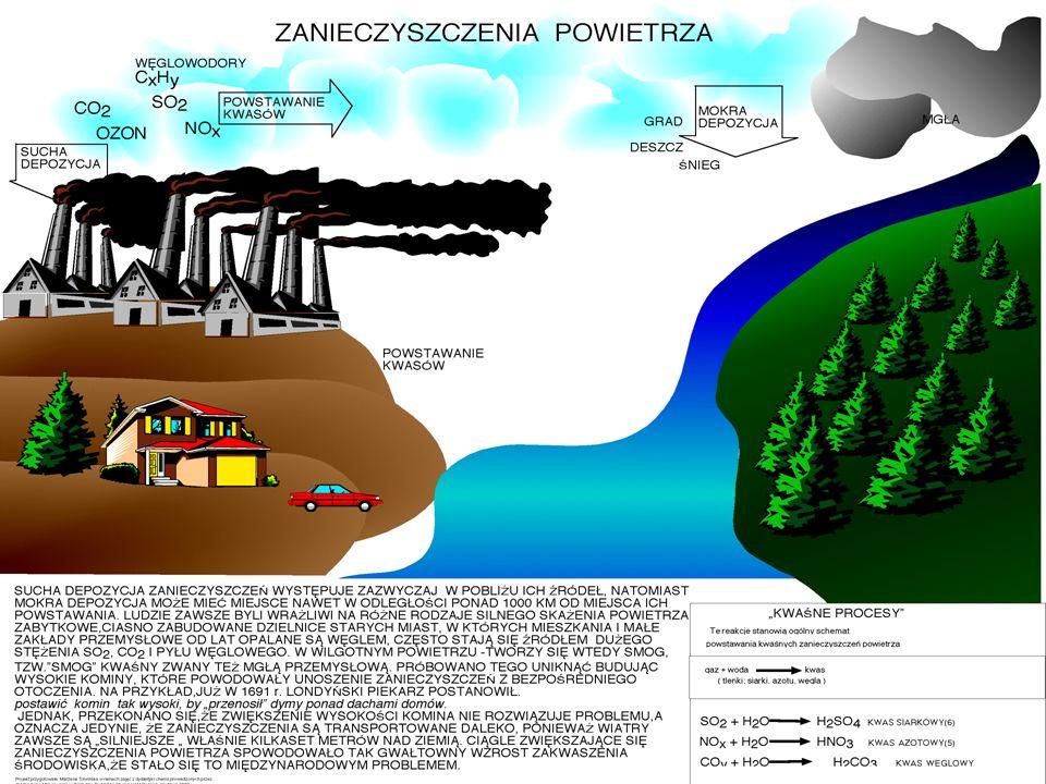 Zanieczyszczenia wody i ich podział Ze względu na stopień szkodliwości : bezpośrednio szkodliwe - fenole (gazownie, koksownie) kwasy cyjanowodorowe (gazownie), kwasy siarkowe i siarczany (fabryki nawozów sztucznych, celulozownie, fabryki włókien sztucznych), pośrednio szkodliwe - takie, które prowadzą do zmniejszenia ilości tlenu w wodzie poniżej poziomu niezbędnego do utrzymania przy życiu organizmów wodnych.