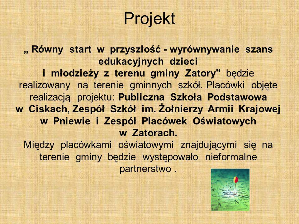 Równy start w przyszłość - wyrównywanie szans edukacyjnych dzieci i młodzieży z terenu gminy Zatory będzie realizowany na terenie gminnych szkół.