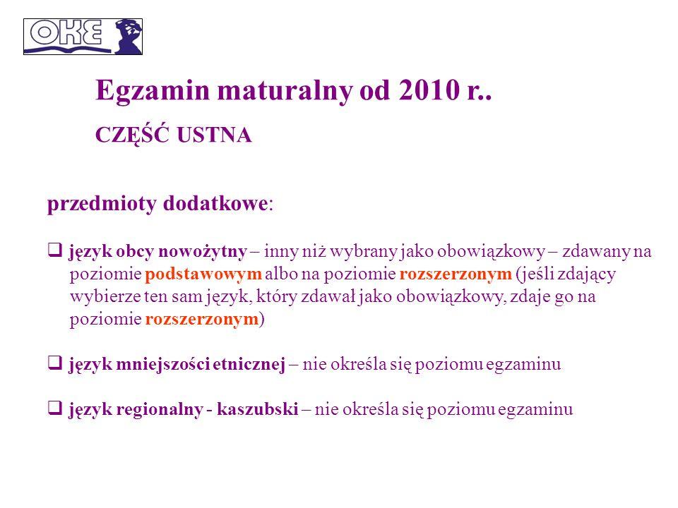 Egzamin maturalny od 2010 r..