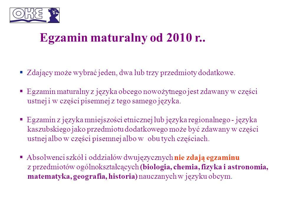 Egzamin maturalny od 2010 r.. Zdający może wybrać jeden, dwa lub trzy przedmioty dodatkowe.