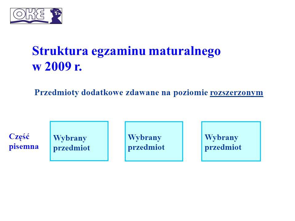 Struktura egzaminu maturalnego w 2009 r.