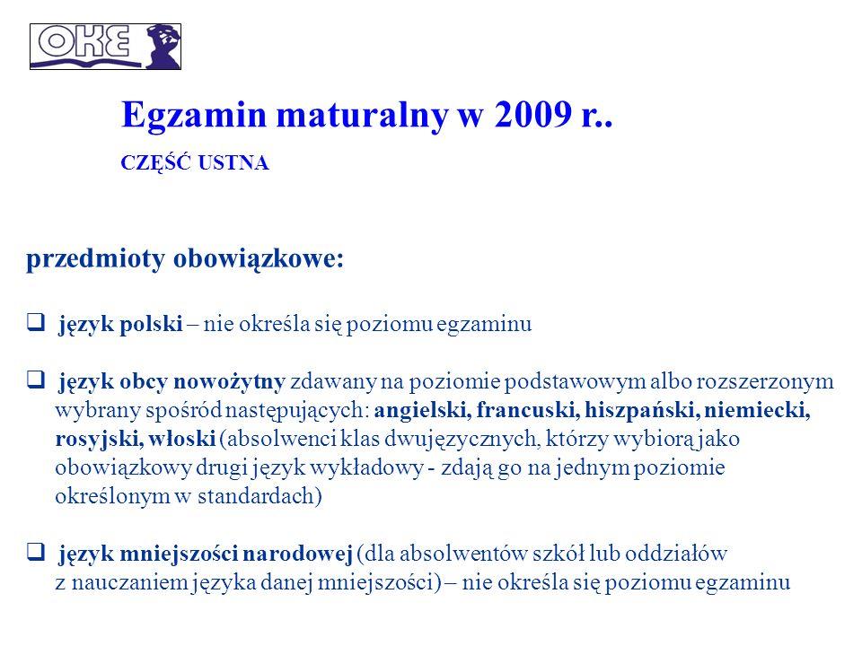 Egzamin maturalny od 2010 r..Zdający może wybrać jeden, dwa lub trzy przedmioty dodatkowe.