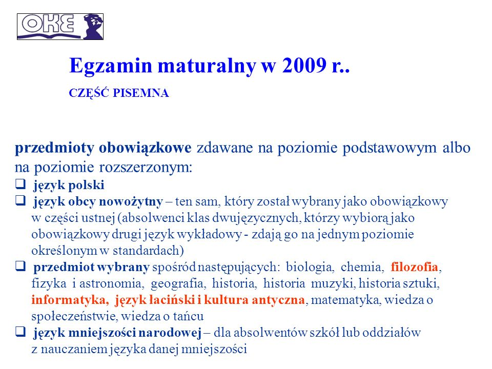 Struktura egzaminu maturalnego od 2010 r.
