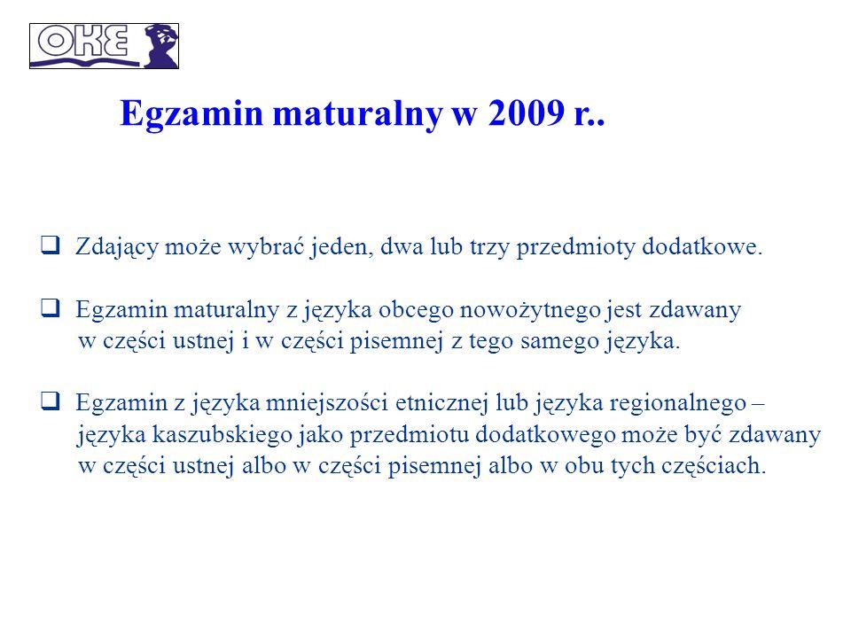 Egzamin maturalny w 2009 r.. Zdający może wybrać jeden, dwa lub trzy przedmioty dodatkowe.
