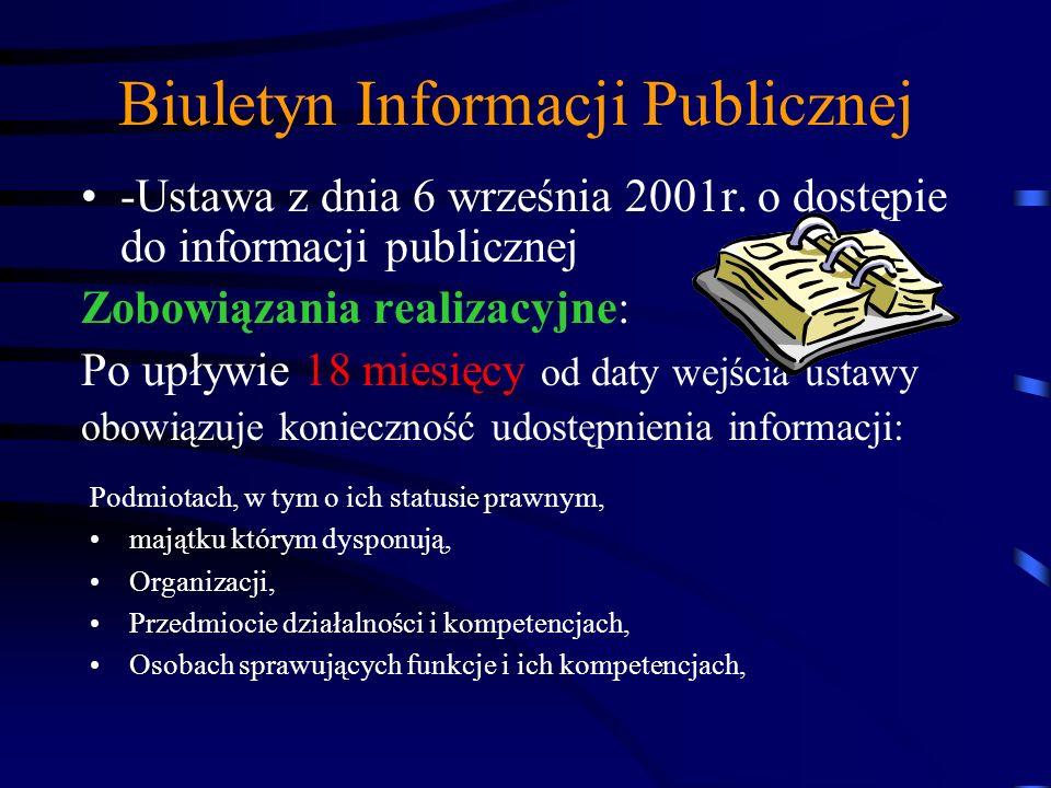 Biuletyn Informacji Publicznej -Ustawa z dnia 6 września 2001r. o dostępie do informacji publicznej Zobowiązania realizacyjne: od 1 stycznia 2002 uruc