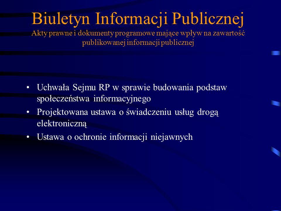 Biuletyn Informacji Publicznej Ustawo z dnia 29 sierpnia 1997 r. o ochronie danych osobowych Ustawa z dnia 27 lipca 2001 o ochronie baz danych -Ustawa