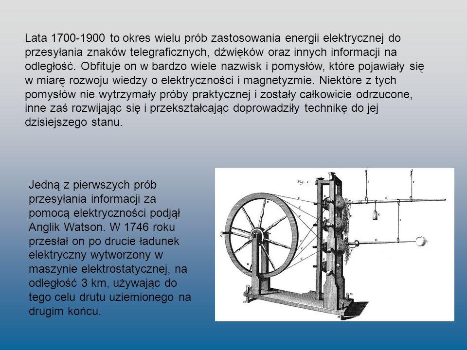 Lata 1700-1900 to okres wielu prób zastosowania energii elektrycznej do przesyłania znaków telegraficznych, dźwięków oraz innych informacji na odległo