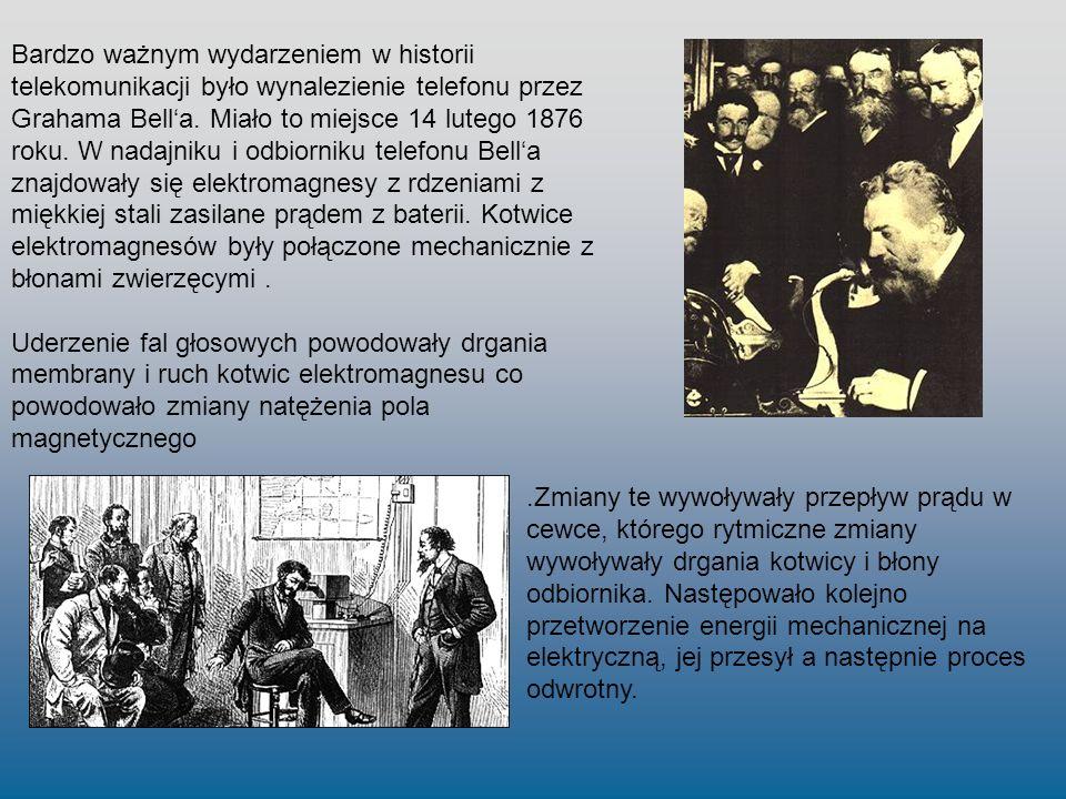 Bardzo ważnym wydarzeniem w historii telekomunikacji było wynalezienie telefonu przez Grahama Bella. Miało to miejsce 14 lutego 1876 roku. W nadajniku