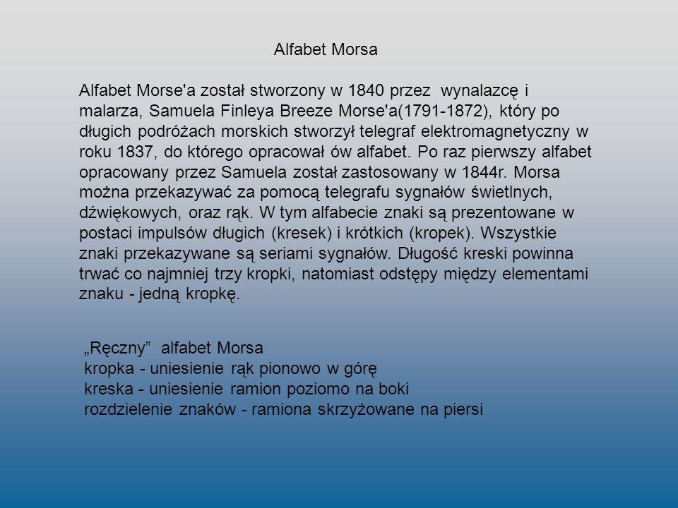 Alfabet Morse'a został stworzony w 1840 przez wynalazcę i malarza, Samuela Finleya Breeze Morse'a(1791-1872), który po długich podróżach morskich stwo
