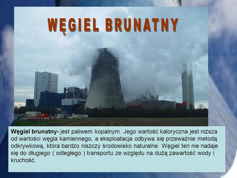 Węgiel brunatny- jest paliwem kopalnym. Jego wartość kaloryczna jest niższa od wartości węgla kamiennego, a eksploatacja odbywa się przeważnie metodą