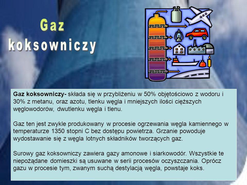 Gaz koksowniczy- składa się w przybliżeniu w 50% objętościowo z wodoru i 30% z metanu, oraz azotu, tlenku węgla i mniejszych ilości cięższych węglowod