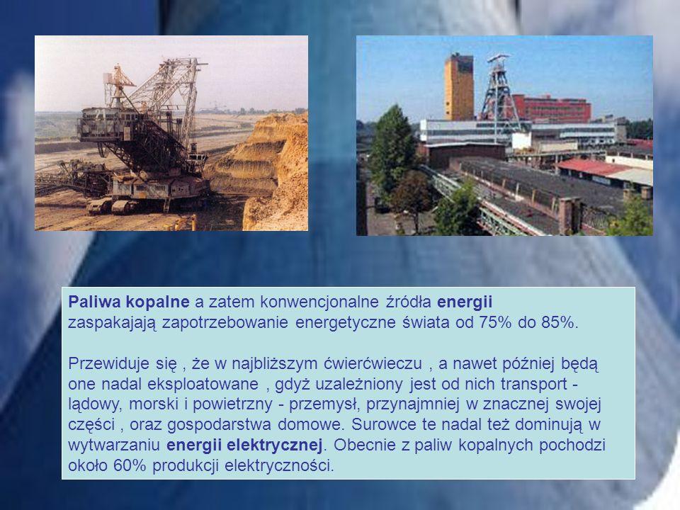 Paliwa kopalne a zatem konwencjonalne źródła energii zaspakajają zapotrzebowanie energetyczne świata od 75% do 85%. Przewiduje się, że w najbliższym ć