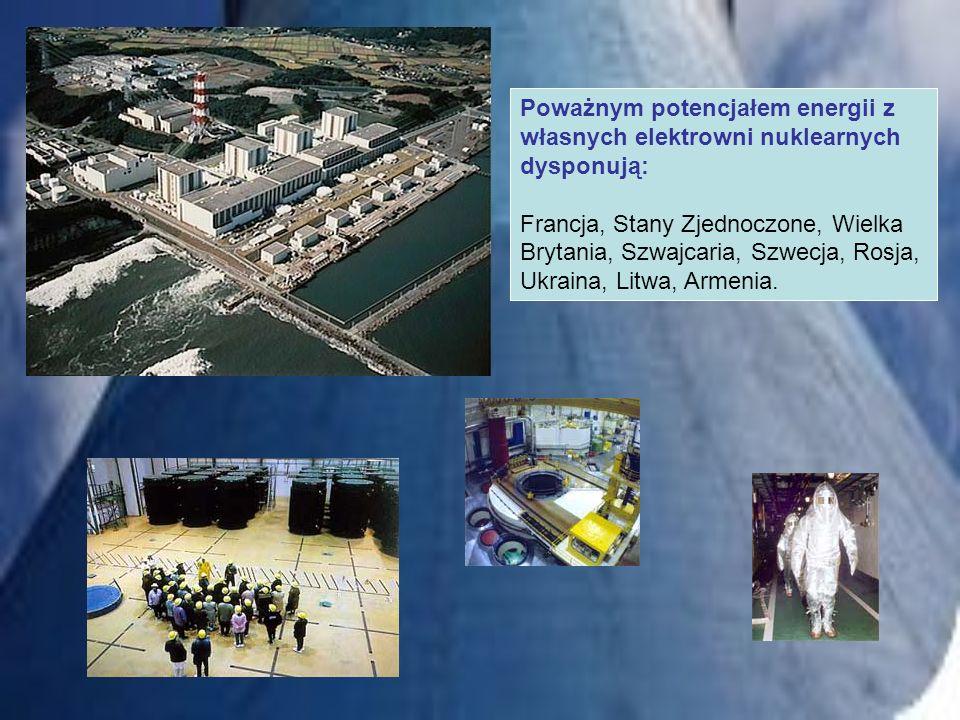 Poważnym potencjałem energii z własnych elektrowni nuklearnych dysponują: Francja, Stany Zjednoczone, Wielka Brytania, Szwajcaria, Szwecja, Rosja, Ukr
