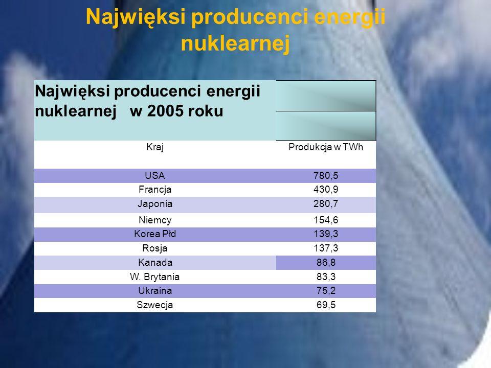 Najwięksi producenci energii nuklearnej w 2005 roku KrajProdukcja w TWh USA780,5 Francja430,9 Japonia280,7 Niemcy154,6 Korea Płd139,3 Rosja137,3 Kanad