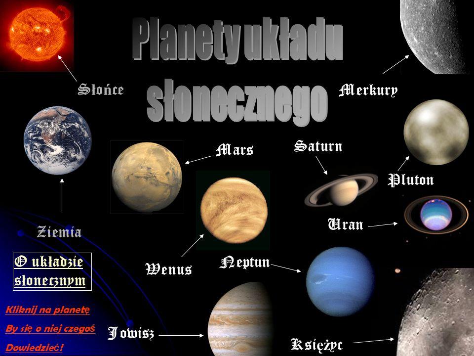 S ł o ń ce Ziemia Merkury Wenus Ksi ęż yc Mars Jowisz Saturn Uran Neptun Pluton O uk ł adzie s ł onecznym Kliknij na planet ę By si ę o niej czego ś Dowiedzie ć !