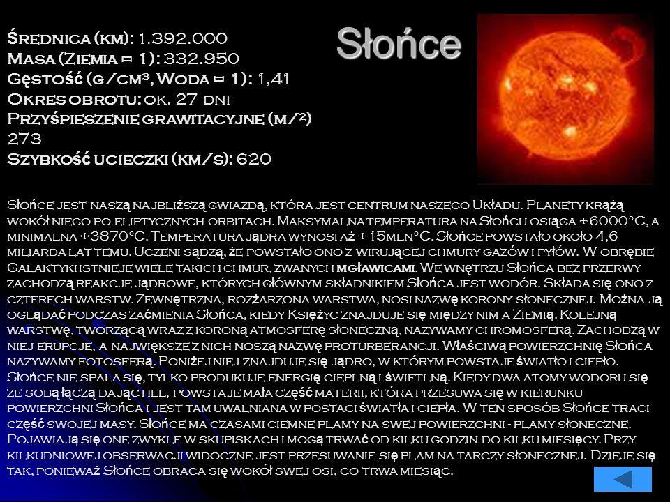 Słońce Ś rednica (km): 1.392.000 Masa (Ziemia = 1): 332.950 G ę sto ść (g/cm³, Woda = 1): 1,41 Okres obrotu: ok.