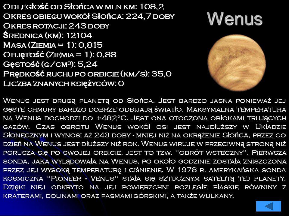 Merkury Odleg ł o ść od S ł o ń ca w mln km: 59,9 Okres obiegu wokó ł S ł o ń ca: 87,969 dnia Okres rotacji: 58,65 dni Ś rednica (km): 4878 Masa (Ziem
