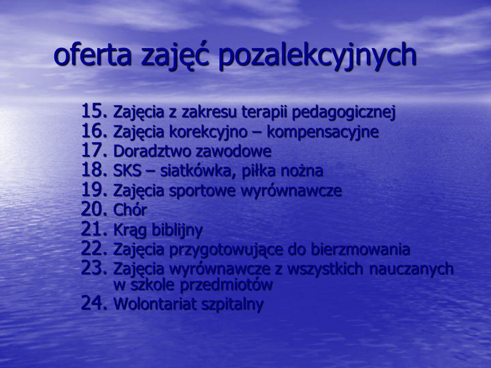 oferta zajęć pozalekcyjnych 15.Zajęcia z zakresu terapii pedagogicznej 16.