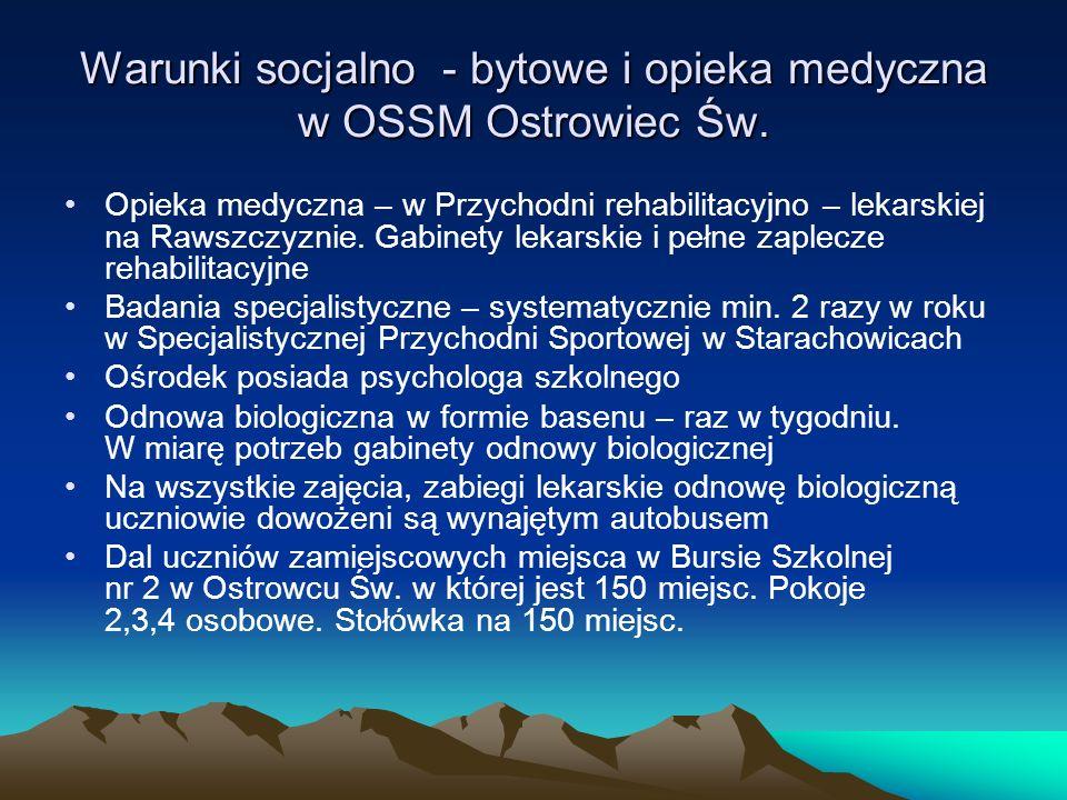 Warunki socjalno - bytowe i opieka medyczna w OSSM Ostrowiec Św. Opieka medyczna – w Przychodni rehabilitacyjno – lekarskiej na Rawszczyznie. Gabinety