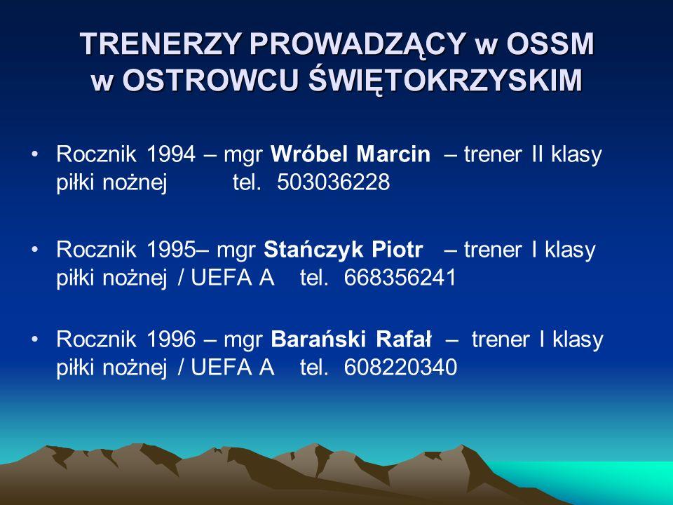 TRENERZY PROWADZĄCY w OSSM w OSTROWCU ŚWIĘTOKRZYSKIM Rocznik 1994 – mgr Wróbel Marcin – trener II klasy piłki nożnejtel. 503036228 Rocznik 1995– mgr S