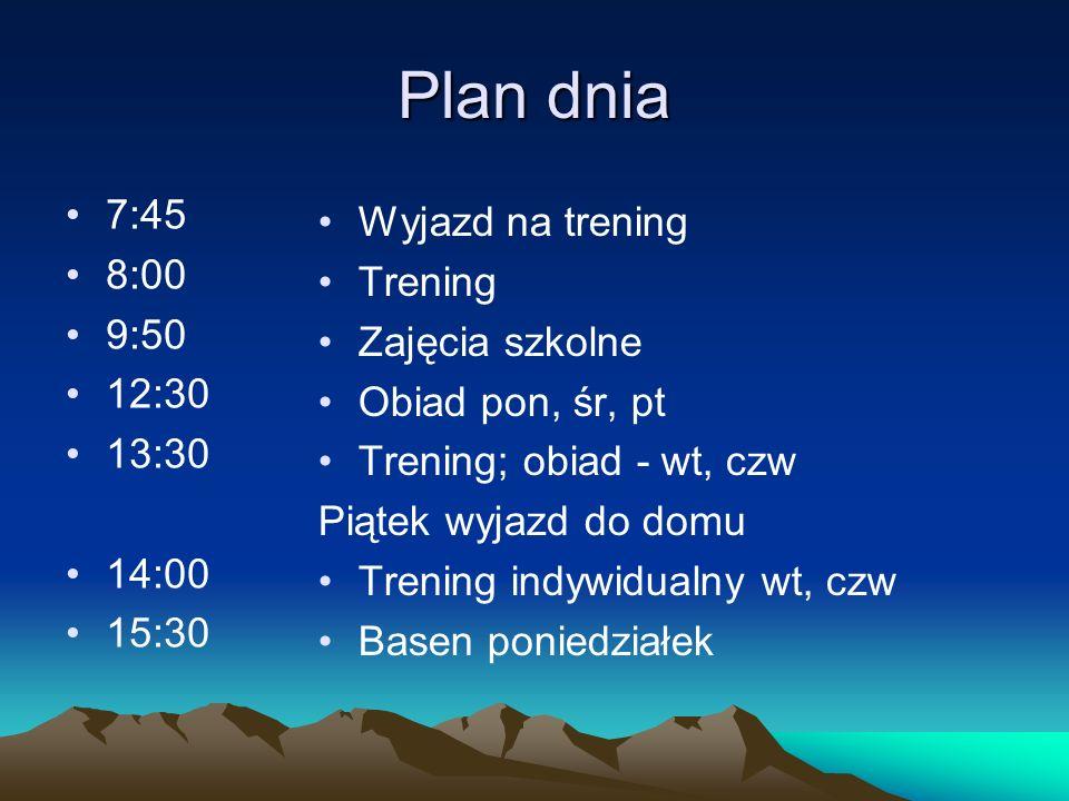 Plan dnia 7:45 8:00 9:50 12:30 13:30 14:00 15:30 Wyjazd na trening Trening Zajęcia szkolne Obiad pon, śr, pt Trening; obiad - wt, czw Piątek wyjazd do