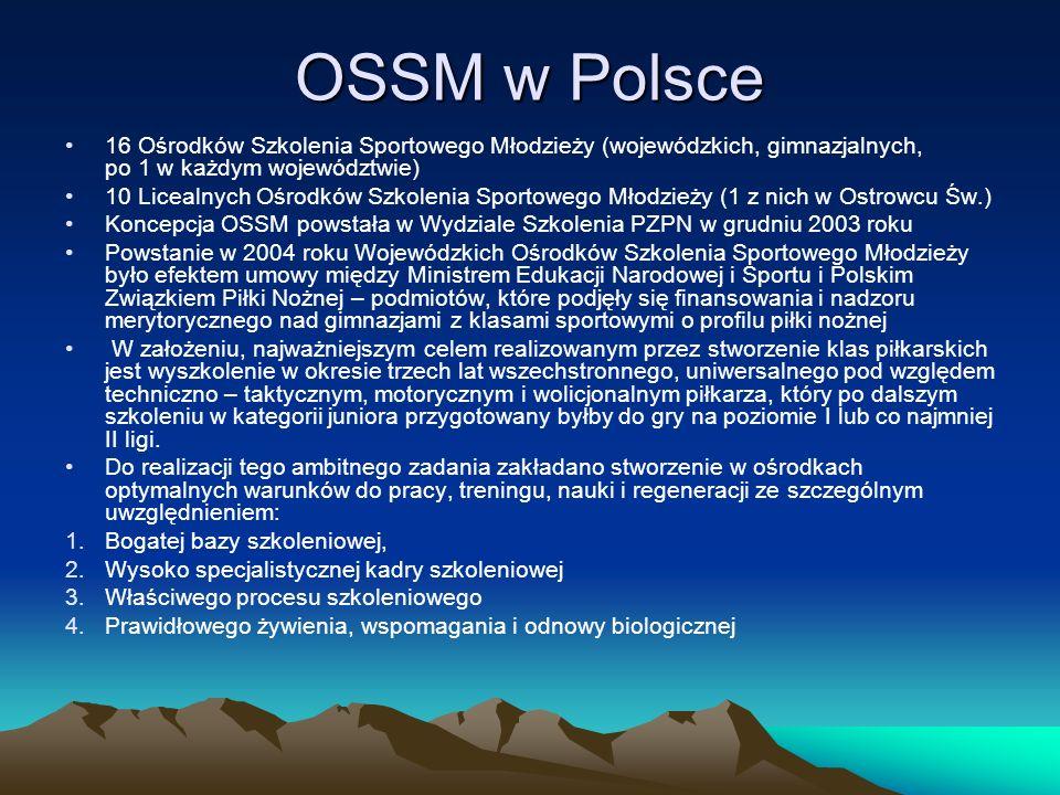 OSSM w Polsce 16 Ośrodków Szkolenia Sportowego Młodzieży (wojewódzkich, gimnazjalnych, po 1 w każdym województwie) 10 Licealnych Ośrodków Szkolenia Sp
