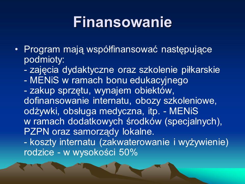 Finansowanie Program mają współfinansować następujące podmioty: - zajęcia dydaktyczne oraz szkolenie piłkarskie - MENiS w ramach bonu edukacyjnego - z