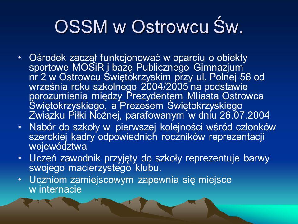 OSSM w Ostrowcu Św. Ośrodek zaczął funkcjonować w oparciu o obiekty sportowe MOSiR i bazę Publicznego Gimnazjum nr 2 w Ostrowcu Świętokrzyskim przy ul