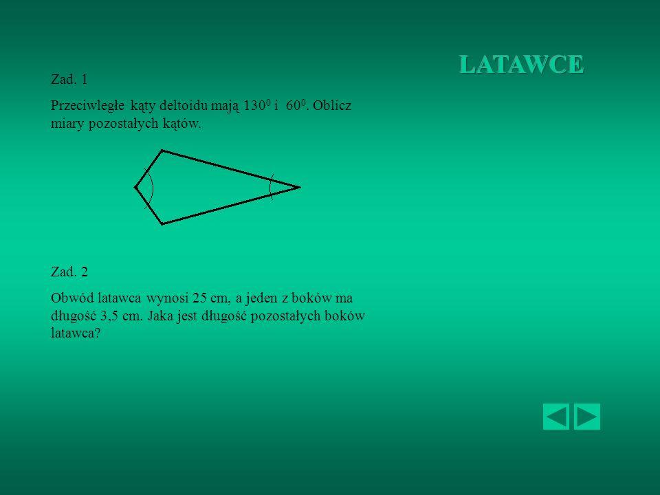 Zad.1 Oblicz pozostałe kąty trapezu równoramiennego: Zad.2 Obwód trapezu równoramiennego wynosi 24 cm. Jedna z podstaw ma długość 3 cm, a druga jest t