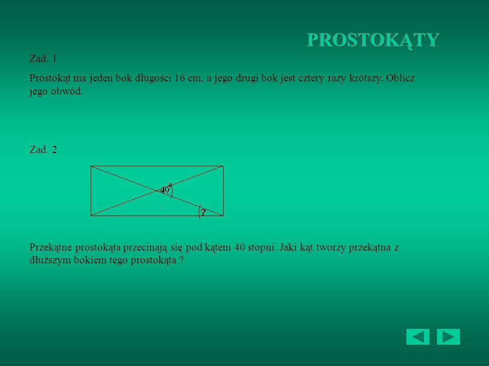 Zad. 1 Z czterech identycznych trójkątów prostokątnych o bokach 3cm, 4cm i 5cm zbudowano romb. Jaka jest długość przekątnych tego rombu ? Zad. 2 Romb