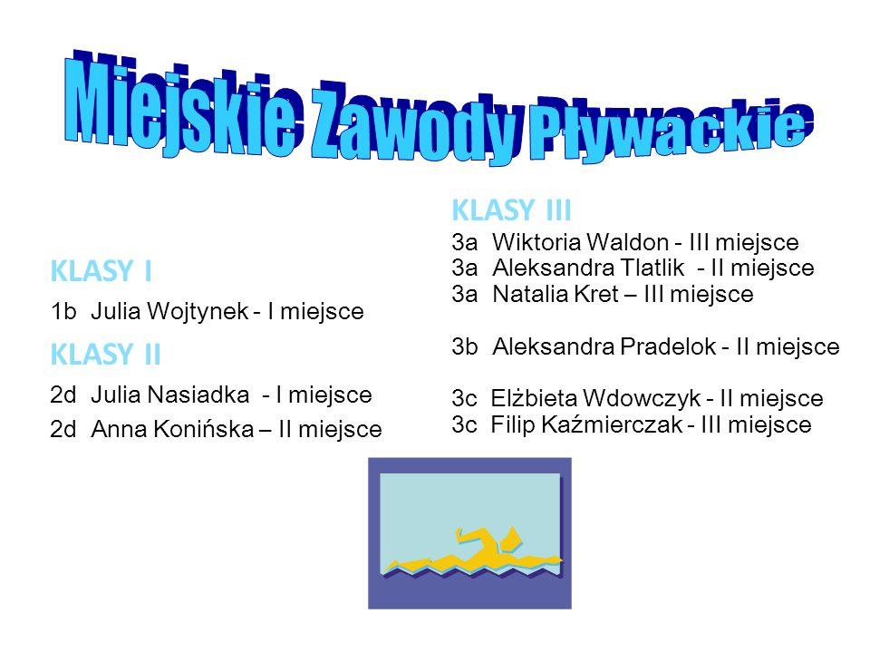 KLASY I 1b Julia Wojtynek - I miejsce KLASY II 2d Julia Nasiadka - I miejsce 2d Anna Konińska – II miejsce KLASY III 3a Wiktoria Waldon - III miejsce