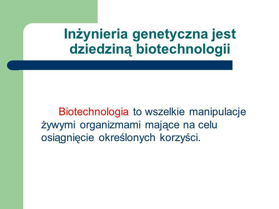 Co to jest inżynieria genetyczna? Manipulacje genetyczne prowadzące do wytworzenia organizmu o nowych cechach, które nie występują u danego gatunku.