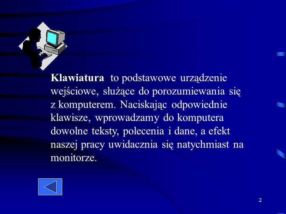 2 Klawiatura to podstawowe urządzenie wejściowe, służące do porozumiewania się z komputerem.