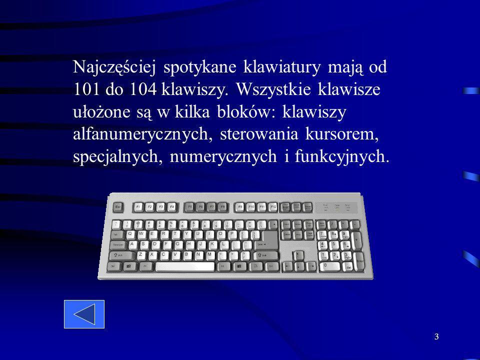 3 Najczęściej spotykane klawiatury mają od 101 do 104 klawiszy.
