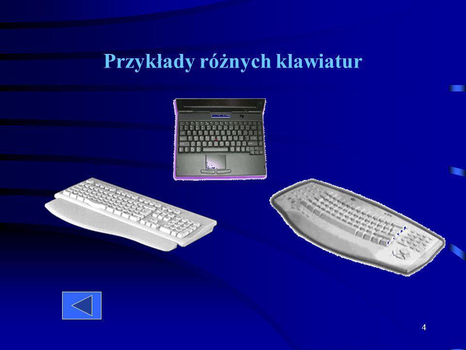 3 Najczęściej spotykane klawiatury mają od 101 do 104 klawiszy. Wszystkie klawisze ułożone są w kilka bloków: klawiszy alfanumerycznych, sterowania ku