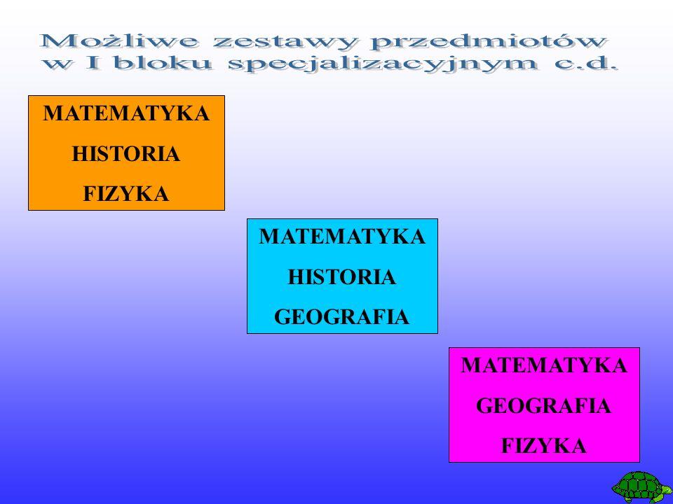 MATEMATYKA HISTORIA FIZYKA MATEMATYKA HISTORIA GEOGRAFIA MATEMATYKA GEOGRAFIA FIZYKA