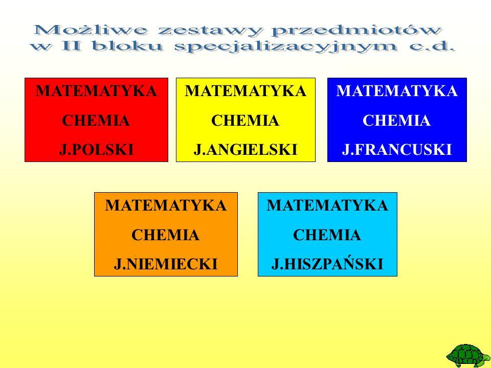 MATEMATYKA CHEMIA J.POLSKI MATEMATYKA CHEMIA J.ANGIELSKI MATEMATYKA CHEMIA J.FRANCUSKI MATEMATYKA CHEMIA J.NIEMIECKI MATEMATYKA CHEMIA J.HISZPAŃSKI