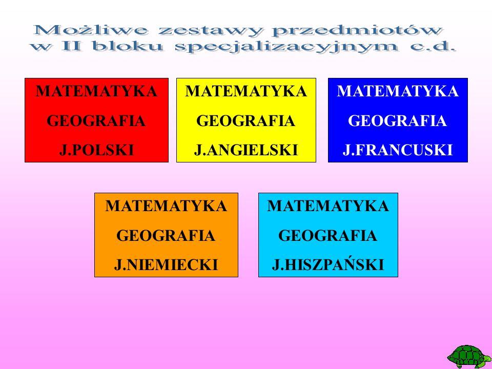 MATEMATYKA GEOGRAFIA J.POLSKI MATEMATYKA GEOGRAFIA J.ANGIELSKI MATEMATYKA GEOGRAFIA J.FRANCUSKI MATEMATYKA GEOGRAFIA J.NIEMIECKI MATEMATYKA GEOGRAFIA J.HISZPAŃSKI