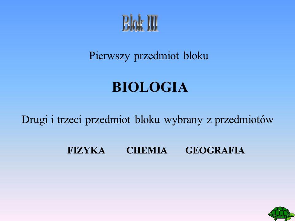 Pierwszy przedmiot bloku BIOLOGIA Drugi i trzeci przedmiot bloku wybrany z przedmiotów FIZYKACHEMIAGEOGRAFIA