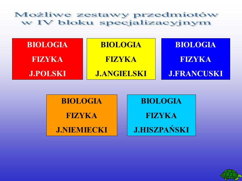 BIOLOGIA FIZYKA J.POLSKI BIOLOGIA FIZYKA J.ANGIELSKI BIOLOGIA FIZYKA J.FRANCUSKI BIOLOGIA FIZYKA J.NIEMIECKI BIOLOGIA FIZYKA J.HISZPAŃSKI